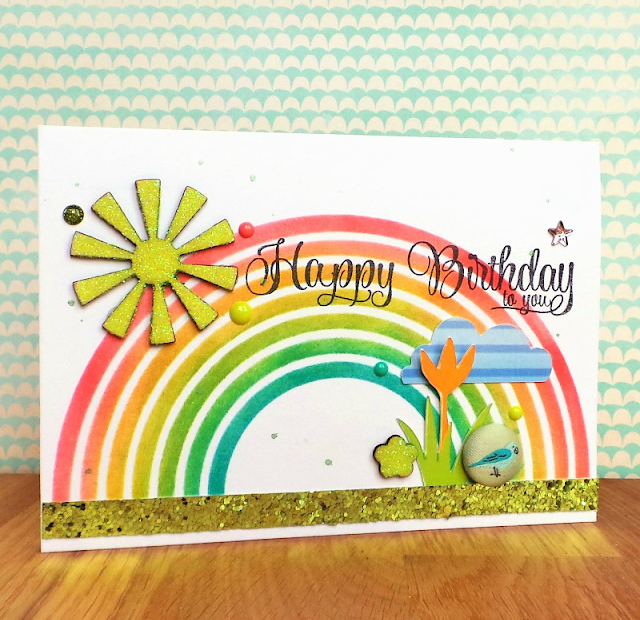 Spring Card Using Rainbow Stencil