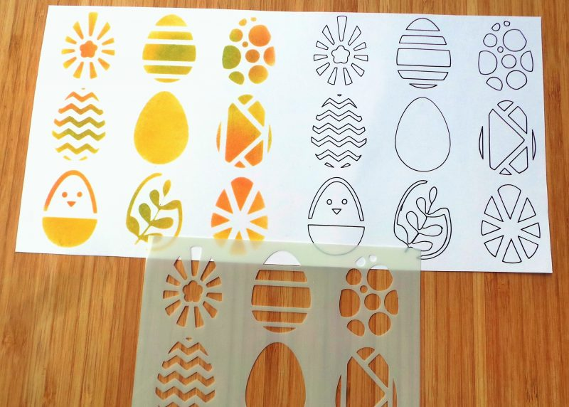Patterned Eggs Stencil In Use