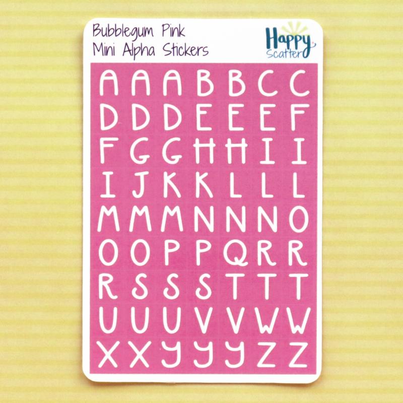 Bubblegum Pink Mini Alpha Stickers Happy Scatter