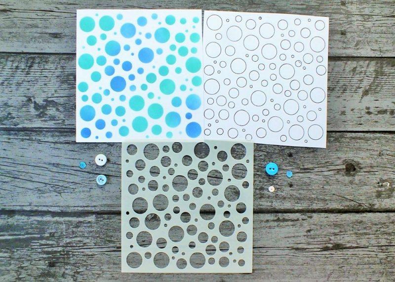 Bubbles Circles Stencil in use