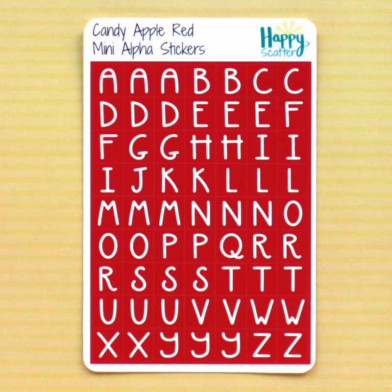 Candy Apple Red Mini Alpha Stickers Happy Scatter