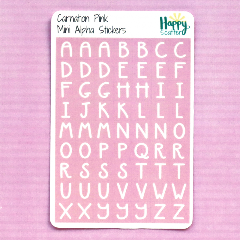 Carnation Pink Mini Alpha Stickers Happy Scatter