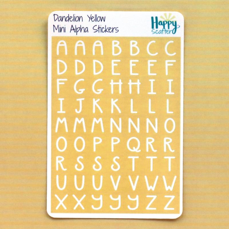 Dandelion Yellow Mini Alpha Stickers Happy Scatter