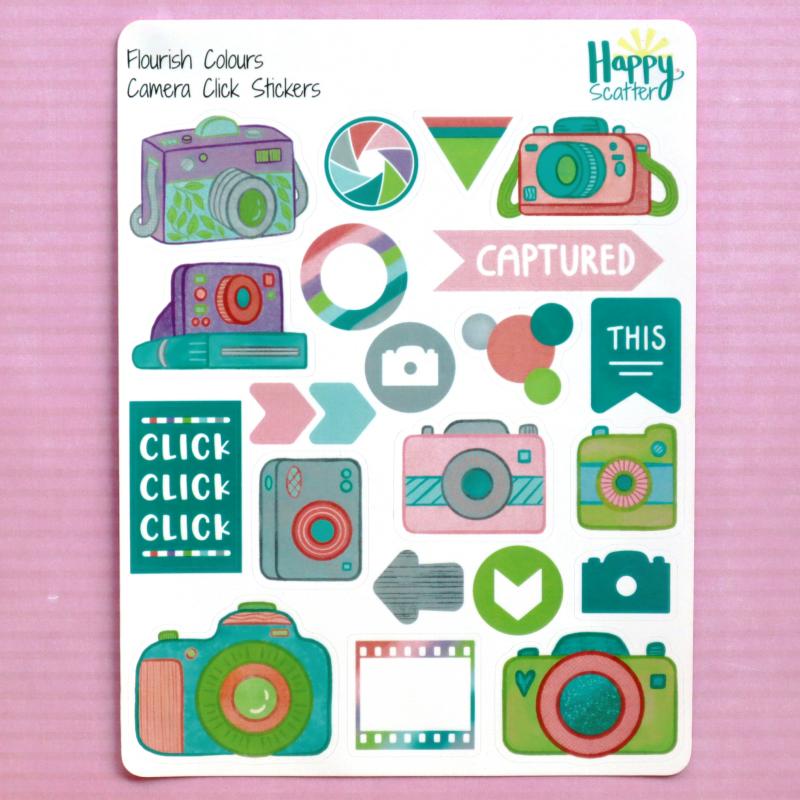 Flourish Camera Click Stickers Happy Scatter