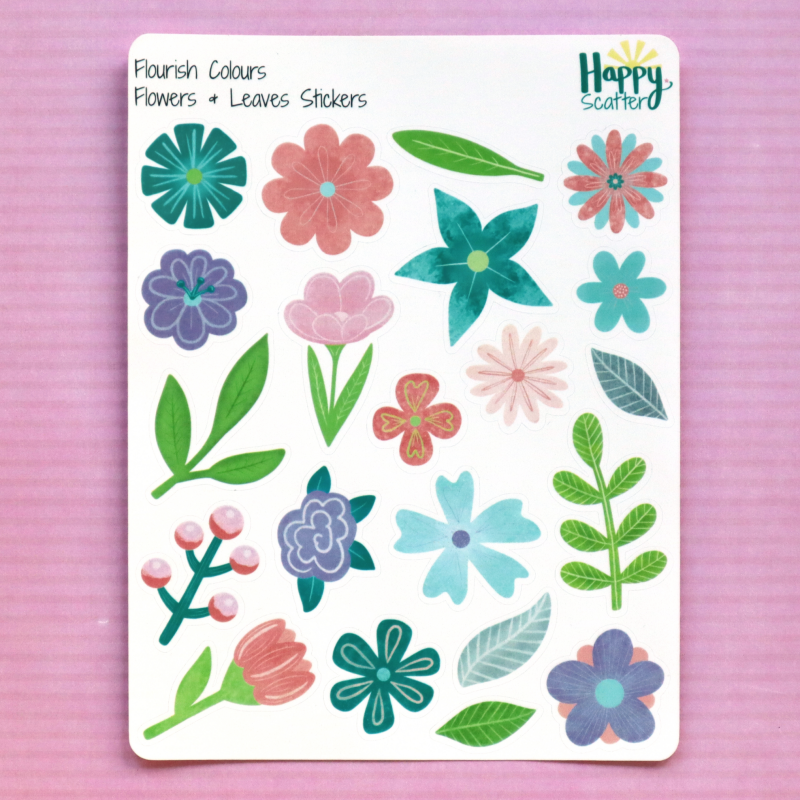 Flourish Flowers And Leaves Stickers Happy Scatter