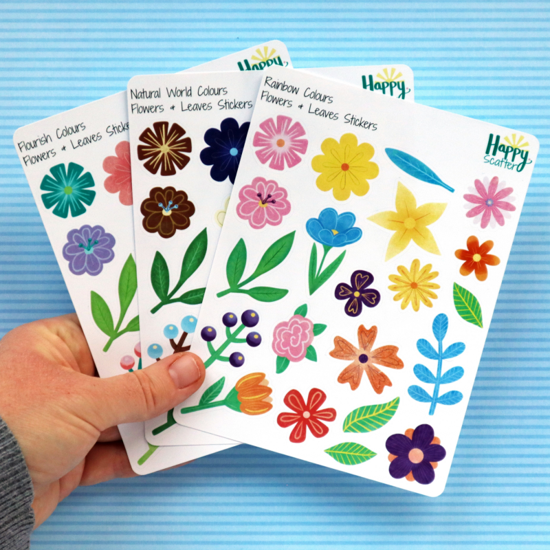 Flowers And Leaves Stickers Happy Scatter