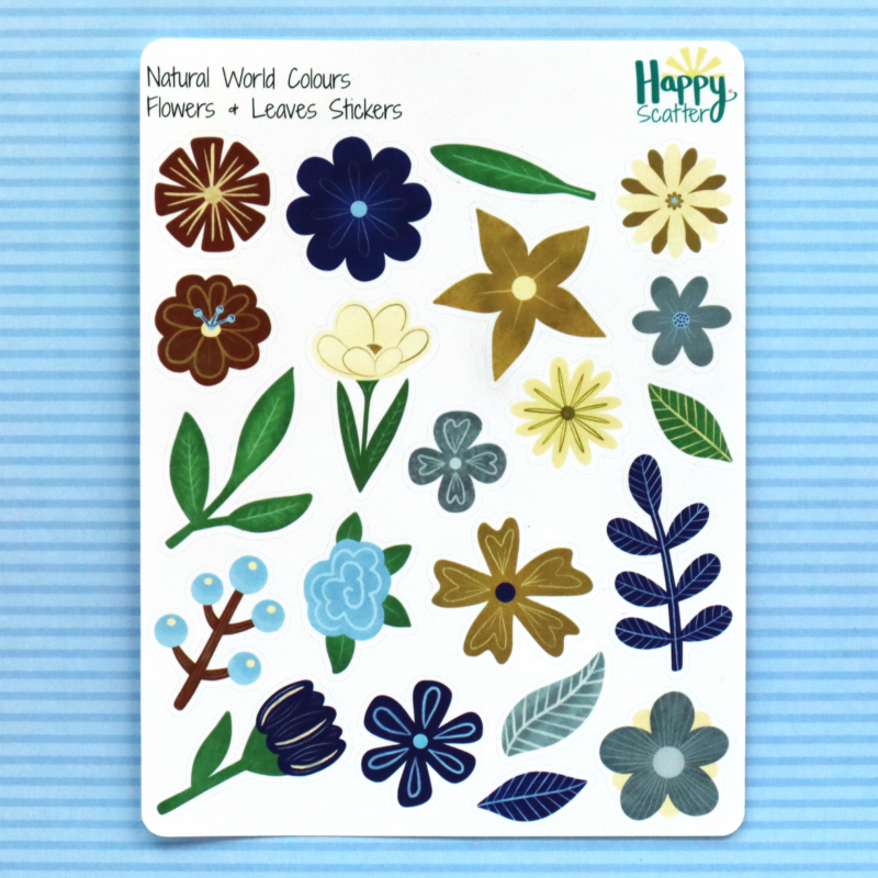 Natural World Flowers And Leaves Stickers Happy Scatter