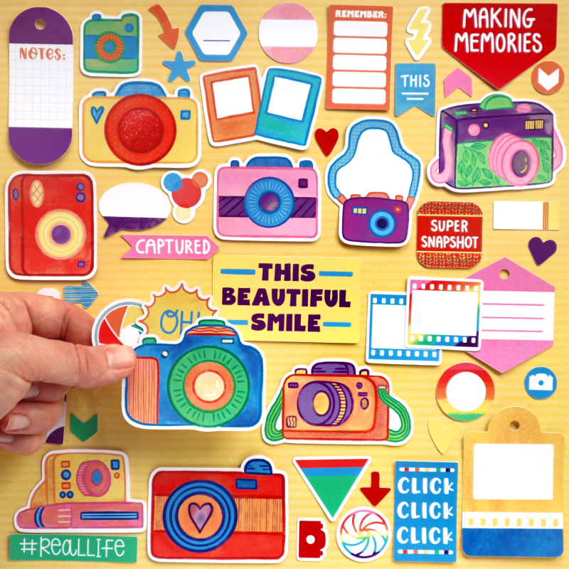 Rainbow Camera Click Die Cuts Size Happy Scatter