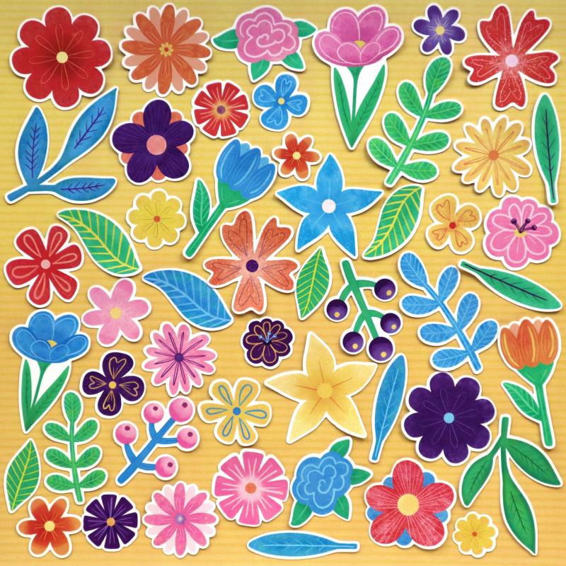 Rainbow Flowers And Leaves Die Cuts
