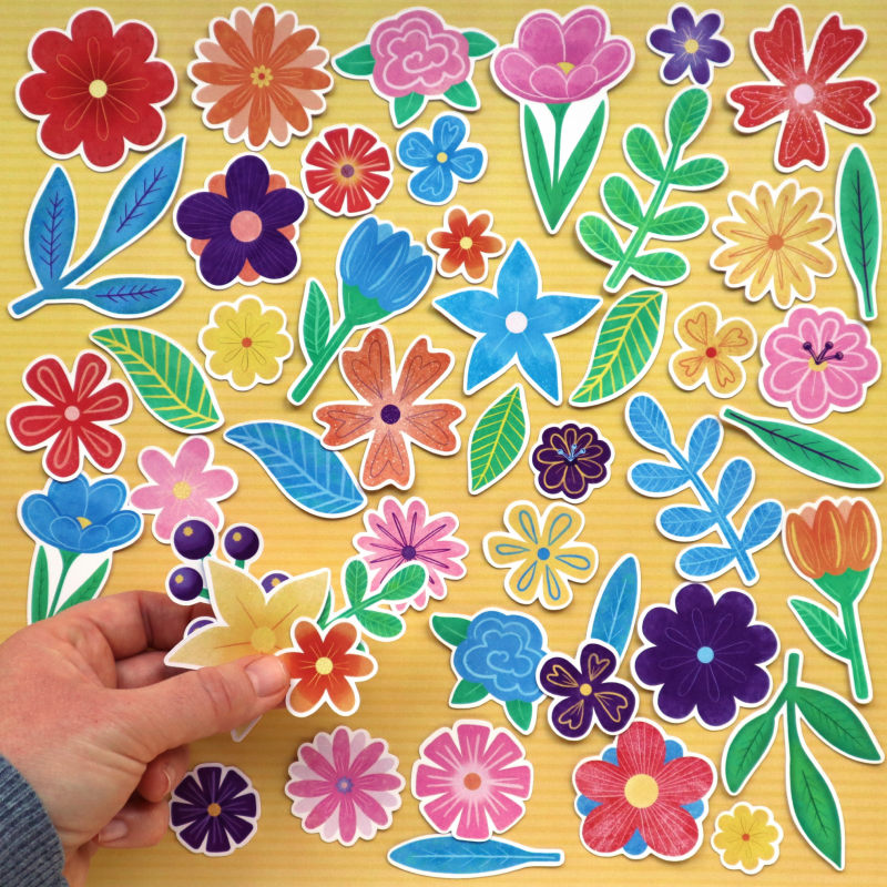 Rainbow Flowers And Leaves Die Cuts Size