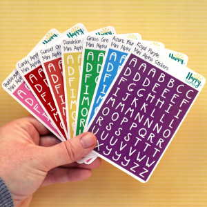 Rainbow Mini Alpha Stickers All Colours Happy Scatter
