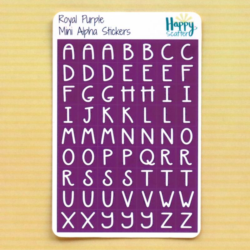 Royal Purple Mini Alpha Stickers Happy Scatter