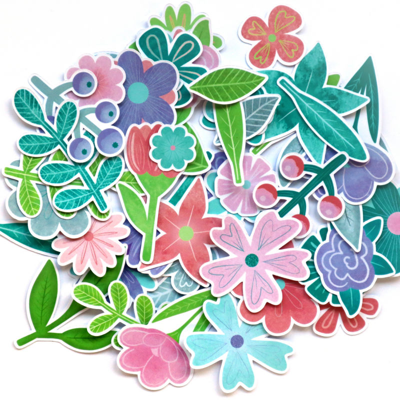 Flourish Flowers And Leaves Die Cuts White Back