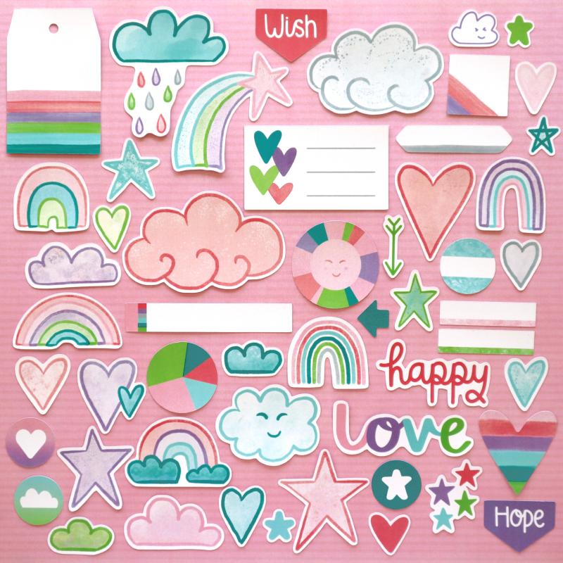 Flourish Rainbow Wishes Die Cuts Happy Scatter