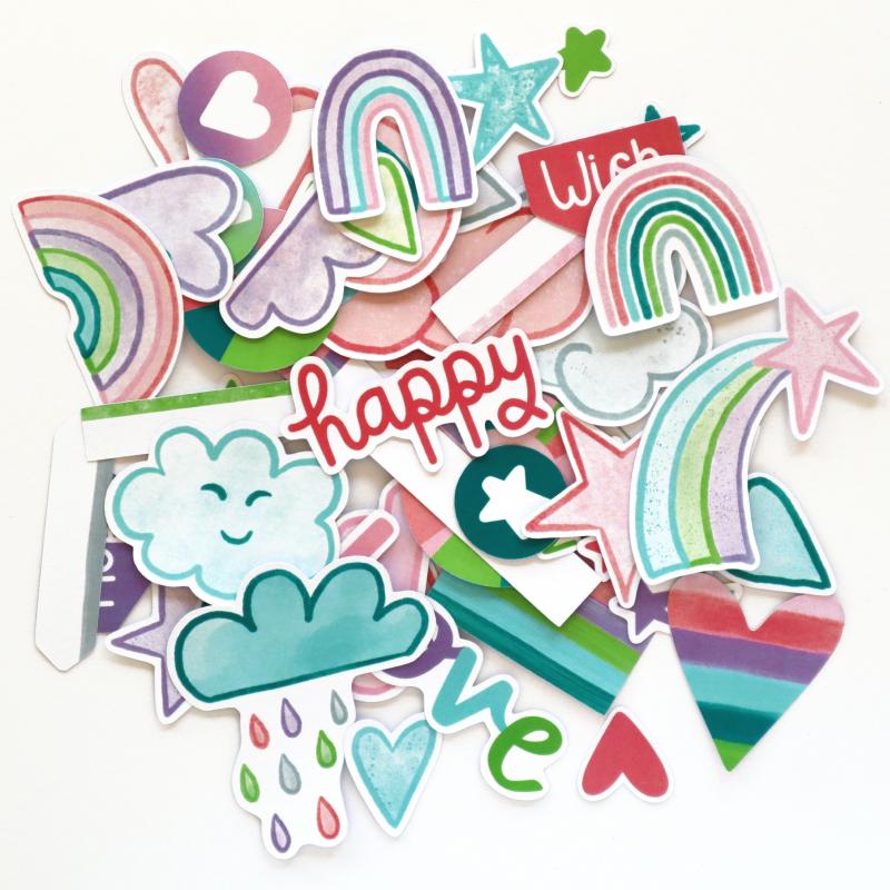 Flourish Rainbow Wishes Die Cuts White Back Happy Scatter