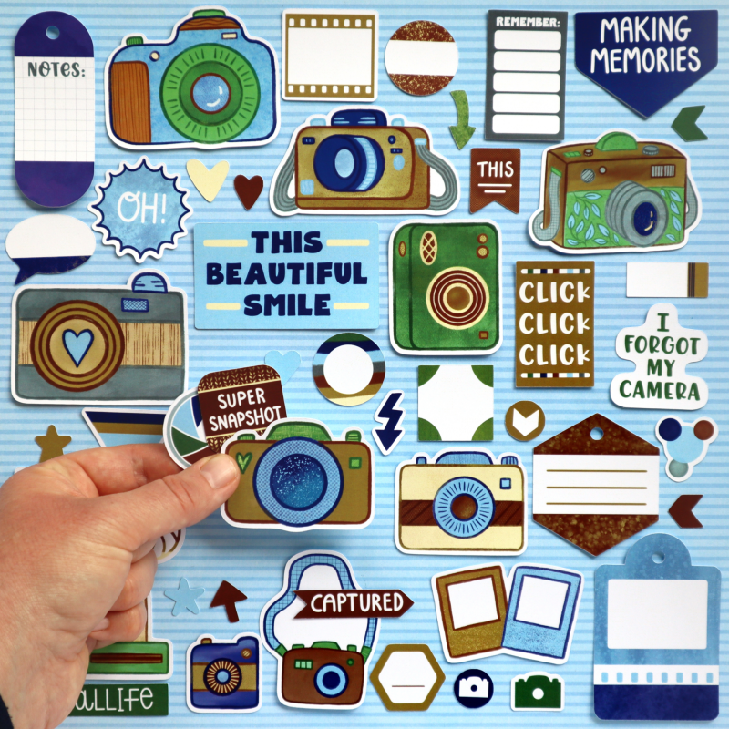 Natural World Camera Click Die Cuts Size Happy Scatter