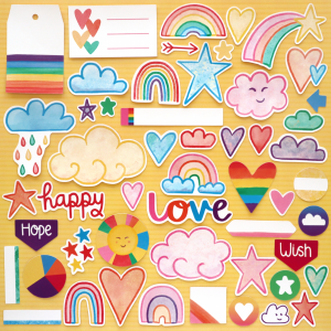 Rainbow Rainbow Wishes Die Cuts Happy Scatter