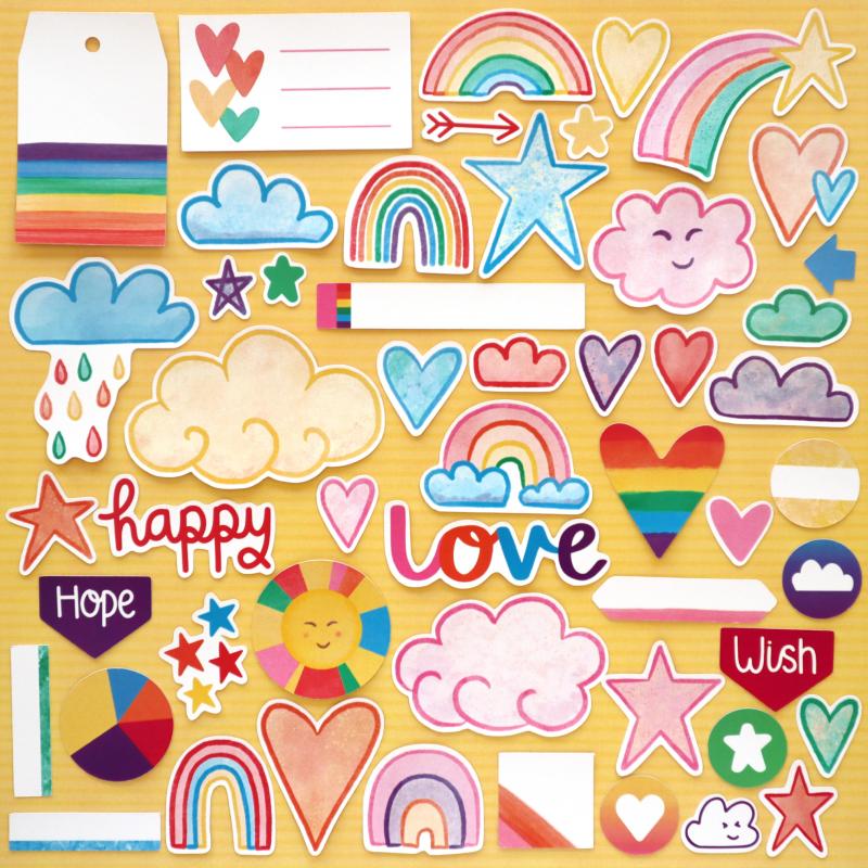Rainbow Rainbow Wishes Die Cuts Happy Scatter