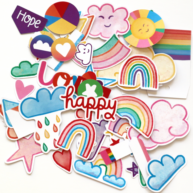 Rainbow Rainbow Wishes Die Cuts White Back Happy Scatter