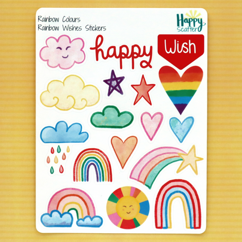 Rainbow Rainbow Wishes Stickers Happy Scatter