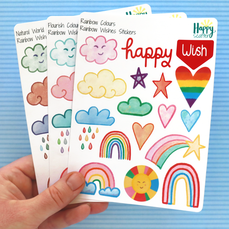 Rainbow Wishes Stickers Happy Scatter